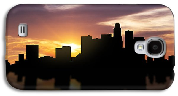 Skylines Mixed Media Galaxy S4 Cases - Los Angeles Sunset Skyline  Galaxy S4 Case by Aged Pixel