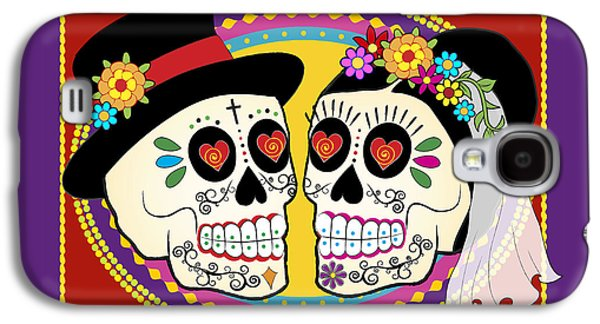 Groom Galaxy S4 Cases - Los Novios Sugar Skulls Galaxy S4 Case by Tammy Wetzel