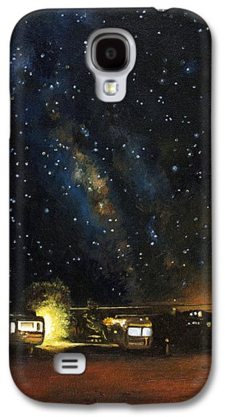 Milky Way Paintings Galaxy S4 Cases - Los Rancheros RV Park Galaxy S4 Case by Leah Saulnier The Painting Maniac
