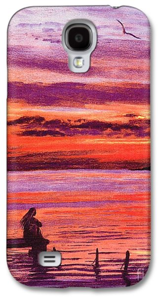 Sunset Abstract Paintings Galaxy S4 Cases - Lost in Wonder Galaxy S4 Case by Jane Small