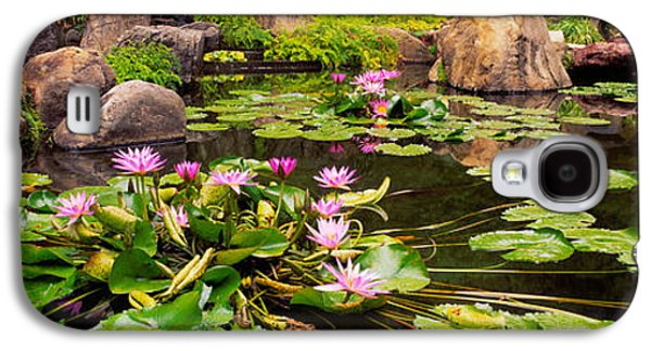 Garden Scene Galaxy S4 Cases - Lotus Blossoms, Japanese Garden Galaxy S4 Case by Panoramic Images