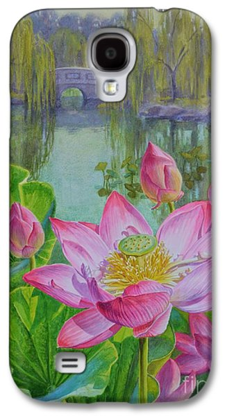 Botanical Pastels Galaxy S4 Cases - Lotuses in a Chinese Garden 1 Galaxy S4 Case by Fiona Craig