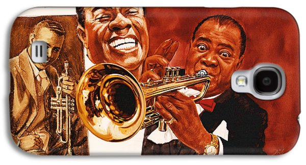 Pop Music Galaxy S4 Cases - Louis Armstrong Galaxy S4 Case by Dick Bobnick