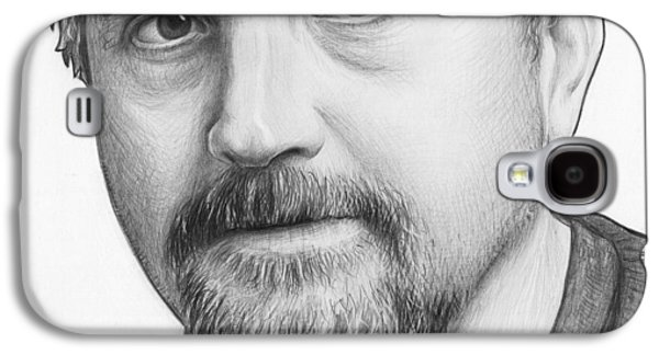 Celebrities Galaxy S4 Cases - Louis CK Portrait Galaxy S4 Case by Olga Shvartsur