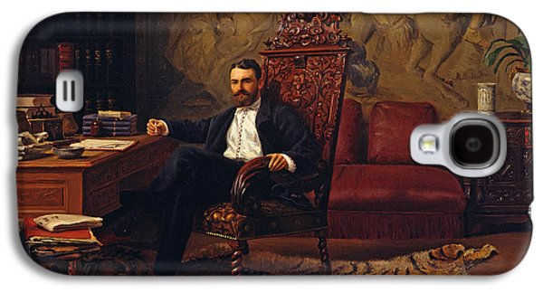 Sit-ins Paintings Galaxy S4 Cases - Louis Signorino seated in his study  Galaxy S4 Case by Gustave Bourgain