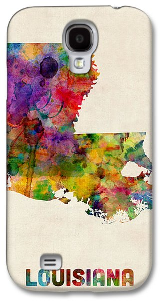 Geography Galaxy S4 Cases - Louisiana Watercolor Map Galaxy S4 Case by Michael Tompsett