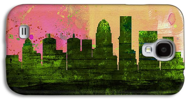 Architectural Paintings Galaxy S4 Cases - Louisville City Skyline Galaxy S4 Case by Naxart Studio