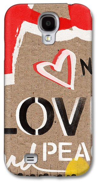 Painted Mixed Media Galaxy S4 Cases - Love and Peace Now Galaxy S4 Case by Linda Woods