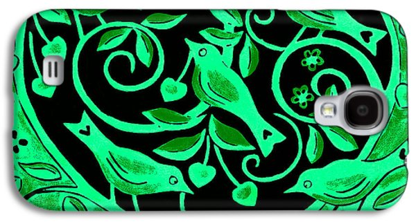 Printmaking Galaxy S4 Cases - Love Birds, 2012 Woodcut Galaxy S4 Case by Nat Morley