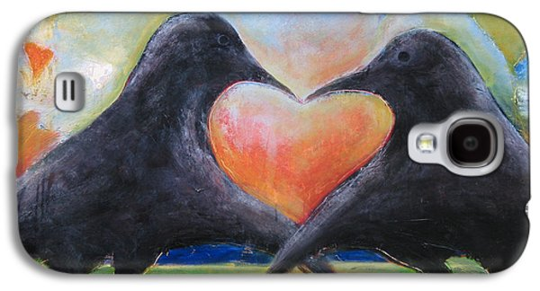 Crows Paintings Galaxy S4 Cases - Love Birds Galaxy S4 Case by Mary Medrano