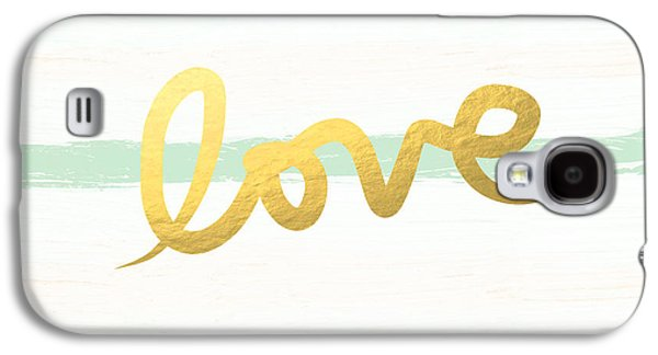 Love In Mint And Gold Galaxy S4 Case by Linda Woods