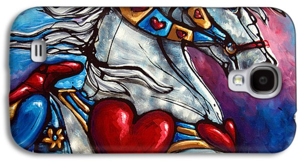 Carousel Horse Paintings Galaxy S4 Cases - Love Makes the World go Round Galaxy S4 Case by Jonelle T McCoy