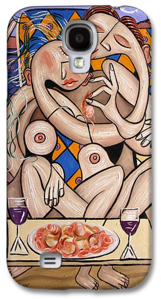Posters On Digital Galaxy S4 Cases - Love On A Deserted Island Shrimp Scallops And Linguine Galaxy S4 Case by Anthony Falbo
