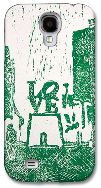Linocut Paintings Galaxy S4 Cases - Love Park In Green Galaxy S4 Case by Marita McVeigh