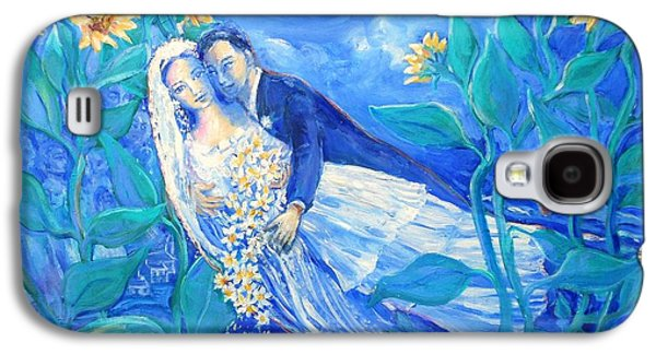 Young Paintings Galaxy S4 Cases - Lovers and Sunflowers  after Marc Chagall  Galaxy S4 Case by Trudi Doyle