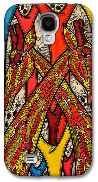 Blue And Red Paintings Galaxy S4 Cases - Lovers Galaxy S4 Case by Muktair Oladoja