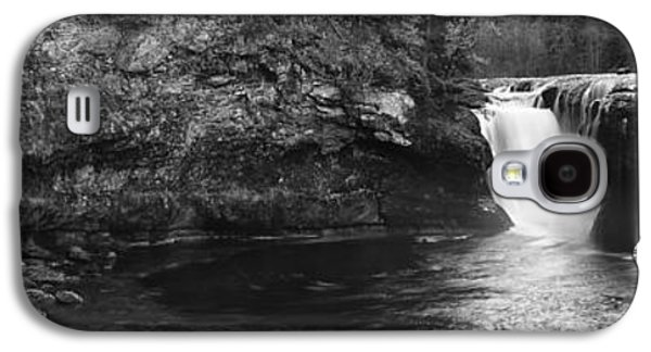 Beauty Mark Galaxy S4 Cases - Lower Lewis River Waterfall Panoramam - Black and White Galaxy S4 Case by Mark Kiver