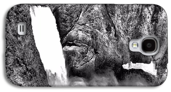 Snow Melt Galaxy S4 Cases - Lower Yellowstone Falls Black And White Galaxy S4 Case by Dan Sproul