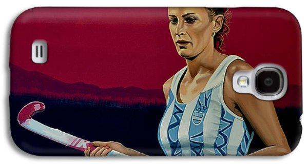 Hockey Paintings Galaxy S4 Cases - Luciana Aymar Galaxy S4 Case by Paul  Meijering