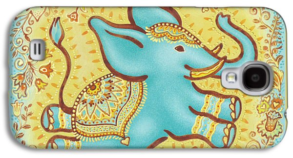 Inner Self Galaxy S4 Cases - Lucky Elephant Turquoise Galaxy S4 Case by Judith Grzimek