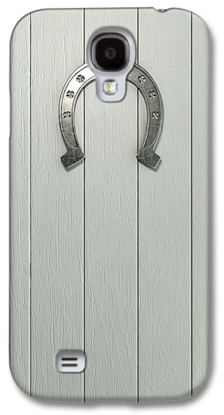 Good Luck Galaxy S4 Cases - Lucky Horseshoe On Wood Galaxy S4 Case by Allan Swart