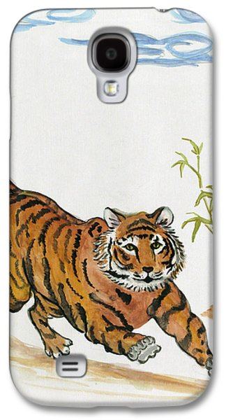 The Tiger Paintings Galaxy S4 Cases - Lucky Tiger Galaxy S4 Case by Carol Oufnac Mahan