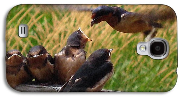 Swallow Chicks Galaxy S4 Cases - Lunch is Served to the Fourth Baby Barn Swallow Galaxy S4 Case by J McCombie