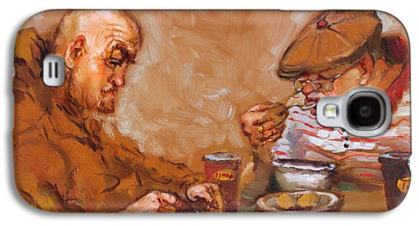 Tim Paintings Galaxy S4 Cases - Lunchtime at Tim  Galaxy S4 Case by Ylli Haruni