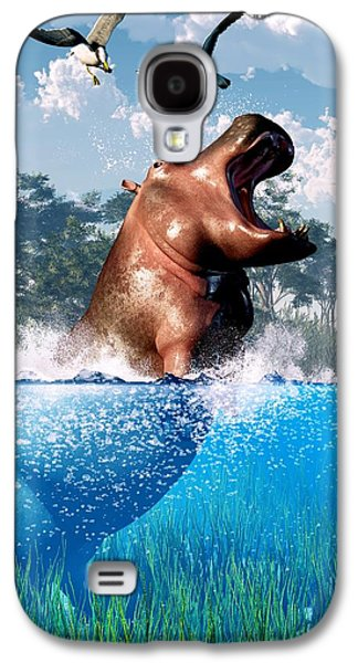 Hippopotamus Digital Galaxy S4 Cases - Lunging Hippo  Galaxy S4 Case by Daniel Eskridge