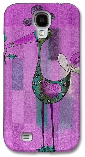 Purple Drawings Galaxy S4 Cases - Lutgardes Bird - 061109106-purple Galaxy S4 Case by Variance Collections