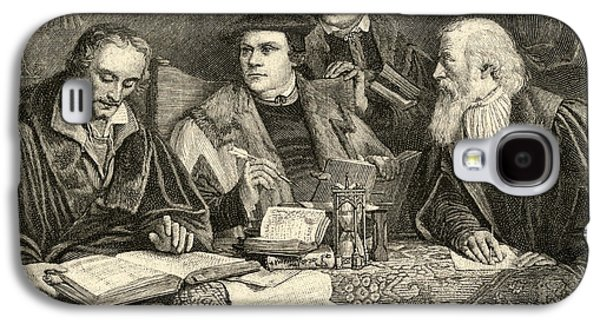 Religious Drawings Galaxy S4 Cases - Luther Melancthon Pomeranus and Cruciger translating  Galaxy S4 Case by English School