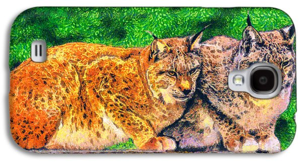 Bobcats Drawings Galaxy S4 Cases - Lynx Galaxy S4 Case by George Rossidis