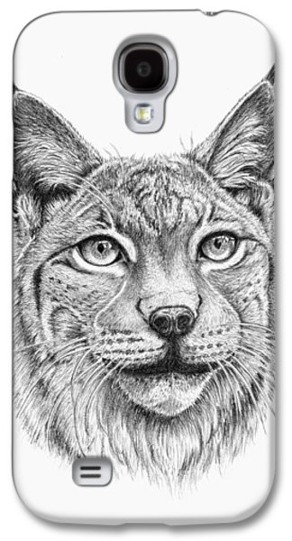 Bobcats Drawings Galaxy S4 Cases - Lynx Portrait Galaxy S4 Case by Iren Faerevaag