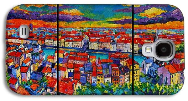 Chimneys Galaxy S4 Cases - Lyon Panorama Triptych Galaxy S4 Case by Mona Edulesco