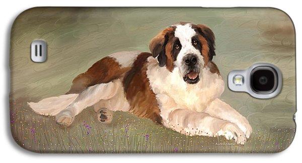 Saving Paintings Galaxy S4 Cases - Mac the St. Bernard Galaxy S4 Case by Angela A Stanton