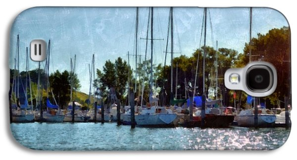Docked Sailboat Galaxy S4 Cases - Macatawa Masts Galaxy S4 Case by Michelle Calkins
