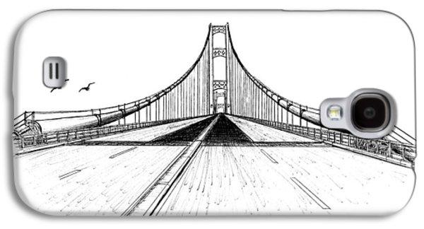 Suspension Drawings Galaxy S4 Cases - Mackinac Bridge Drive  Galaxy S4 Case by Adam Vereecke