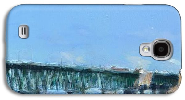 Architecture Mixed Media Galaxy S4 Cases - Mackinac Bridge Panorama Painting Galaxy S4 Case by Dan Sproul