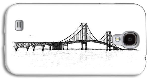 Suspension Drawings Galaxy S4 Cases - Mackinac Bridge South Shore Galaxy S4 Case by Adam Vereecke