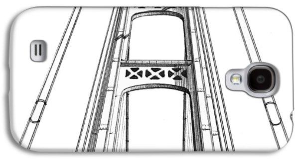 Suspension Drawings Galaxy S4 Cases - Mackinac Bridge Tower Galaxy S4 Case by Adam Vereecke