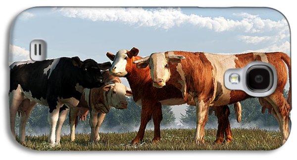 Western Themed Digital Art Galaxy S4 Cases - Mad Cows Galaxy S4 Case by Daniel Eskridge