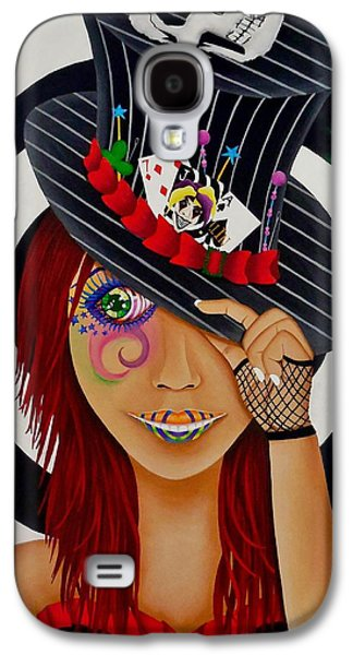 Mad Hatter Paintings Galaxy S4 Cases - Mad Hatter Galaxy S4 Case by Victoria  Ramirez