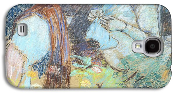 Girl Pastels Galaxy S4 Cases - Madame Guillaumin Sewing Galaxy S4 Case by Jean Baptiste Armand Guillaumin