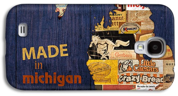 Made In Michigan Products Vintage Map On Wood Galaxy S4 Case by Design Turnpike