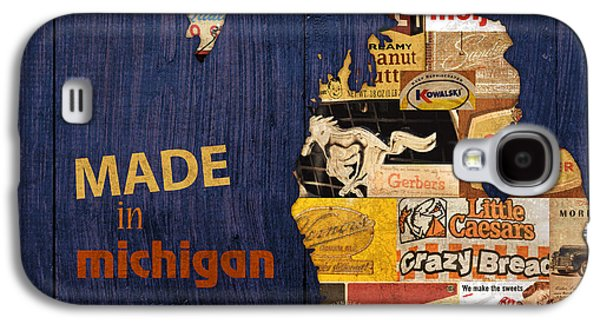 Map Galaxy S4 Cases - Made in Michigan Products Vintage Map on Wood Galaxy S4 Case by Design Turnpike