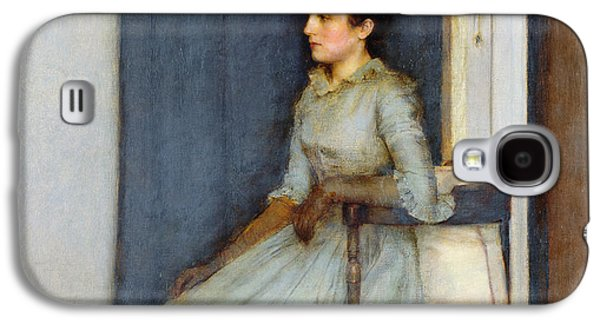Woman In A Dress Galaxy S4 Cases - Mademoiselle Monnom Galaxy S4 Case by Fernand Khnopff