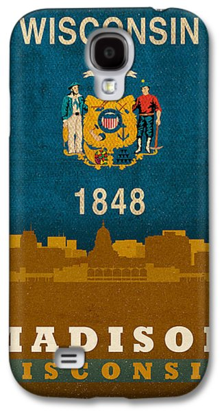 Madison Galaxy S4 Cases - Madison City Skyline State Flag Of Wisconsin Art Poster Series 007 Galaxy S4 Case by Design Turnpike