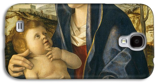 Renaissance Paintings Galaxy S4 Cases - Madonna and Child in a Landscape Galaxy S4 Case by Giovanni Bellini