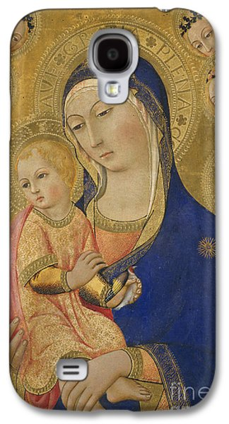Halo Galaxy S4 Cases - Madonna and Child with Saint Jerome Saint Bernardino and Angels Galaxy S4 Case by Sano di Pietro