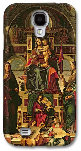 Jesus With Children Galaxy S4 Cases - Madonna and Child with Saints Galaxy S4 Case by Bartolomeo Montagna